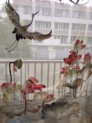 Rèm thêu nghệ thuật - đồng hạc và sen