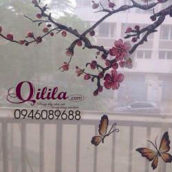 Rèm thêu cành đào Qilila